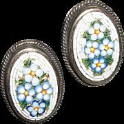 Vintage Micro-Mosaic Flower Earrings
