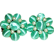 Vintage Satin-Wrapped Beads Clip Earrings
