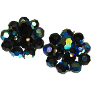Vintage Midnight Blue AB Crystals Clip Earrings