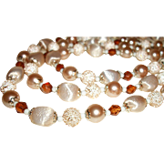 Vintage 3-Strand Peach Lucite & Glass Necklace and Earrings Set