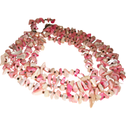 Vintage 4-Strand Mother-of-Pearl Pink Nuggets Necklace