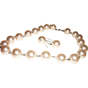 Vintage Single Strand Faux Pearls Necklace and Earrings