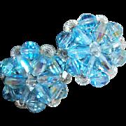 Vintage Faceted Aqua Crystals Clip Earrings