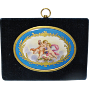 Antique French Petite Oval Porcelain Plaque with Putti, CA.1880