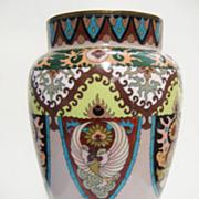 Antique Japanese Cloisonne Vase, Phoenix&Shield Decor, CA.1890
