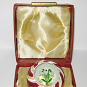 Vintage Perthshire Paperweight, 1987, Double Cut Overlay, Snowdrops, 1987