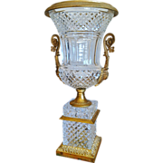 SALE Antique Cut Crystal & Bronze Dore' Urn, Empire Style, 19th C.