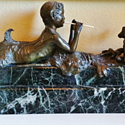 French Art Deco Bronze Figure, Young Faun & Doe, by Ary Bitter, CA.1920