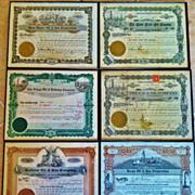 Group of 6 Framed Vintage Oil Stock Certificates