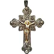 """Antique French """"Wirework"""" Cross, CA.1890"""