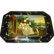 Antique Russian Papier Mache' Sewing Box, Scenic Painted, Silver Inlaid Faux Tortoise, CA.1840