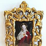 """SALE Limoges Enamel Plaque of """"Jesus Christ"""", """"Sacre Coeur"""", Gilt Wood Fra"""