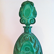 "Czech ""Malachite Glass"" Large Decanter, 1930's by Henry Schlevogt"