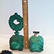 Rose Pattern Czech Malachite Glass, Perfume and Atomizer, 1940's Vintage