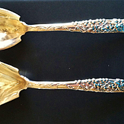 SALE Tiffany Sterling Silver 2 Piece Salad Set, Vine Pattern, CA.1890