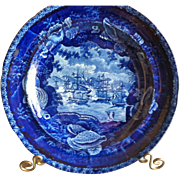 "Antique Historical Blue Staffordshire Plate, Wood & Sons, ""Commodore McDonnoughs Victory"