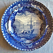 "Antique Historical Blue Staffordshire Plate, Wood & Sons, ""Dartmouth"""