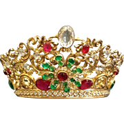 """An Antique French """"Corona"""" or """"Crown, Dore' Brass with Clear & Colored Brillian"""
