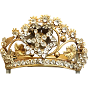 "An Antique French ""Corona"" or ""Crown, Dore' Brass & Clear Brilliants, CA.1860"