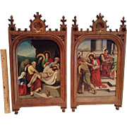 "Two Antique Original Hand Painted ""Stations of the Cross"" on Copper Panels, CA.1870"