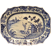 Antique Chinese Export Blue & White Platter, Early 19th Century