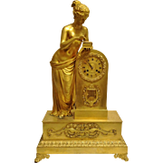 "Antique French Empire Period Figural Bronze Clock, ""Pandora"", by ""Claude Galle"""