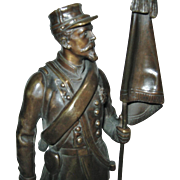 """Antique French Bronze Figure of a Soldier, by """"Charles AnFrie"""", CA.1880"""