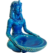 """Vintage French Art Deco Egyptian Revival Seated Figure, """"Egyptian Blue Faience"""", CA."""
