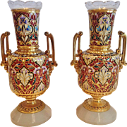An Important Pair of French Champleve & Dore Bronze Vases, Designed by L.C.Sevin, CA ...