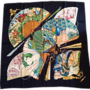 "Vintage Hermes Silk Scarf - ""Brise de Charme"" - Charming Breeze, 1990 design by Juli"