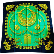 "Vintage Hermes Silk Scarf ""LesCavaliers D'Or, ""The Golden Riders"", 1975 by Vlad"