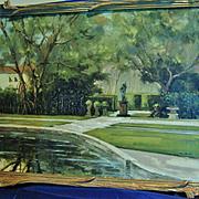 "SALE Original Painting, Oil on Canvas by H.L.Kent, ""Vizcaya Gardens"", Mid 20th Centu"