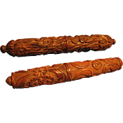 SOLD Pair of Rare Carved Wood Needle Cases, French, CA.1850 - Red Tag Sale Item