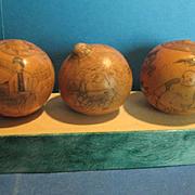 SALE 3 Antique Japanese Scrimshaw on Gourds, 19th Century