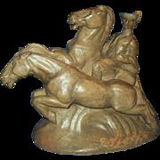 SALE Mid Century ModerneTerracotta Sculpture, Renaissance Man & Horses, 1943