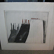 "SALE Original Etching ""Toits a Paris, 1967, by Mario Micossi"