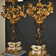 Pair of Fabulous Antique French Figural Candelabra in Bronze, CA.1860