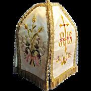 """SALE Antique French Catholic """"Pavillion de Ciboire"""", Gold Bullion Detail, Hand Embro"""