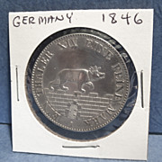 A Rare German Silver Coin, Dated 1846, with Crowned Bear
