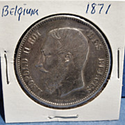 A Large Belgium Silver 5 Franc Coin, 1871, King Leopold II