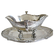 Antique French Silver Sauce Boat, Regence Style, CA.1890