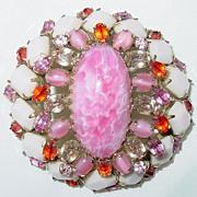 Vintage Signed Schreiner New York Pink & White Brooch/Pin...STUNNING!!!