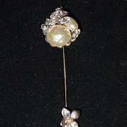 Signed Miriam Haskell Baroque Pearl Flower Stick Pin