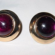 Vintage Miriam Haskell Faux Amethyst Clip On Earrings