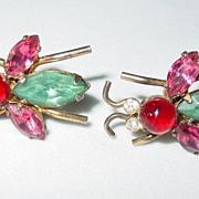 Vintage Sterling Bee Screw on Earrings Blue/Pink/Red/Clear Rhinestones