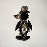 Vintage Jet Black & Rhinestone Penguin Brooch/Pin with Top Hat