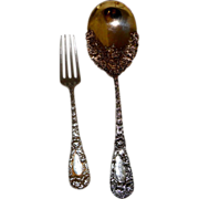 """Durgin Sterling Silver Chrysanthemum Preserve Spoon (112g) and 7"""" Fork (64g)"""