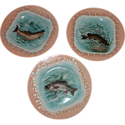Three (3) Hand painted BDL Limoges Fish Plates 8 3/8 in.