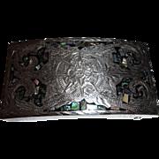 Plata De Jalisco 925 Sterling Silver V.H.L.C Mother of Pearl Belt Buckle