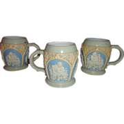 Set of 3 19th Century Villeroy & Boch Mettlach Cameo Mugs/Cups/Steins 1/4L